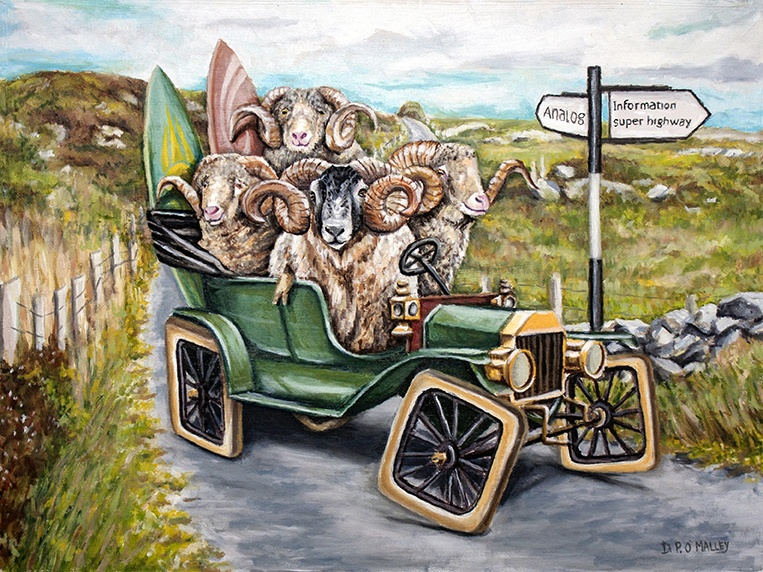 A squared wheeled car full of rams driving down a country road