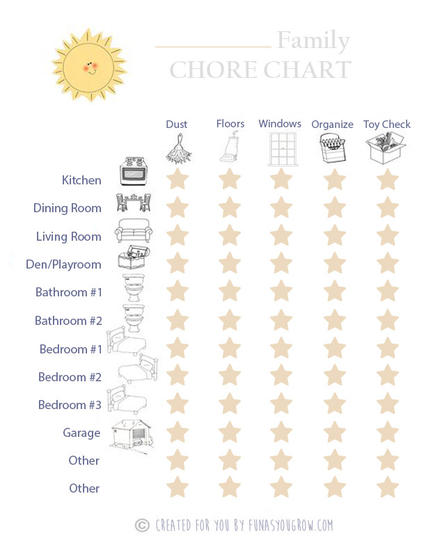 Free Printable Chore Chart from @FunAsYouGrow