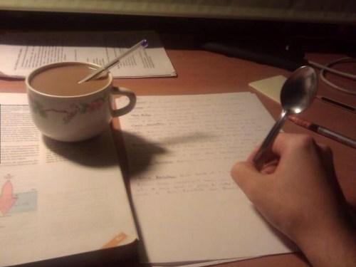 Doing homework at 3 a.m.