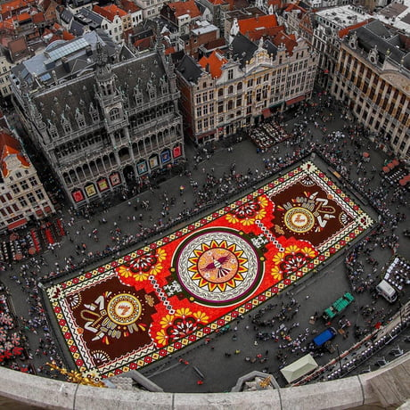 This beautiful Mexican-themed carpet created from 500,000 Dahlia and Begonia flowers in Grand Place, Brussels