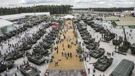 Russia opened a 'Military Disneyland' called Patriot Park, where visitors, including children, can ride in tanks, shoot guns and buy and sell military gear.