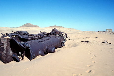 After 101 years, the Ottoman locomotive is still laying in the desert after being ambushed by Arabian forces lead by Lawrence of Arabia