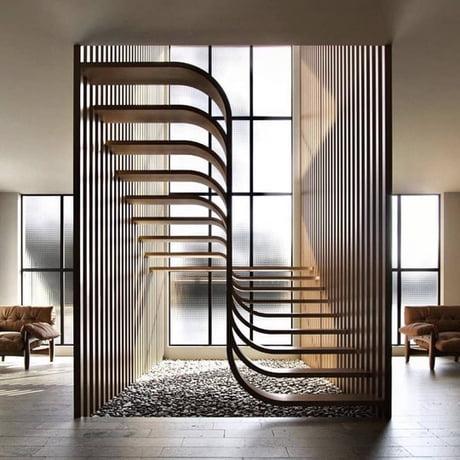 This quite satisfying stair design