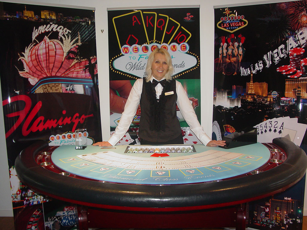 Black Jack table with cards and Croupier for a Real Deal