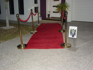 Red Carpet gold bollards for a classy theme