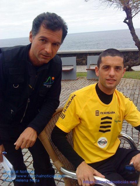 Nuno Gonçalves, presidente do Clube de Montanha do Funchal, com Luís Fernandes, o vencedor 1º circuito de Trail Running realizado este sábado no norte da ilha.