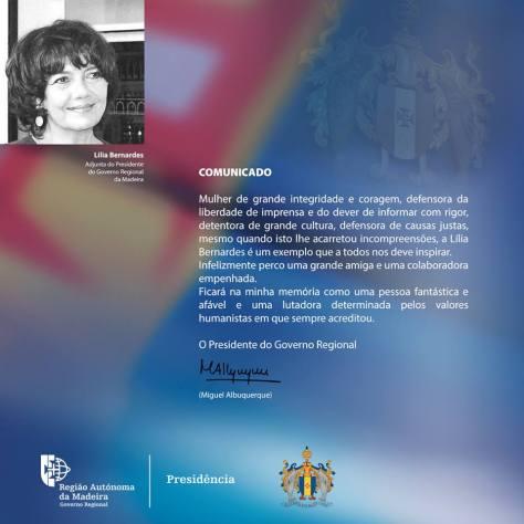 Comunicado Albuquerque Lília Bernardes