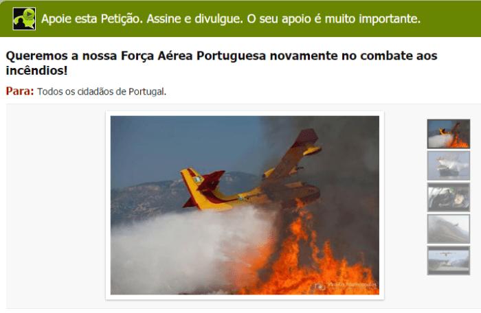 Petição Força Aérea e Incêndios