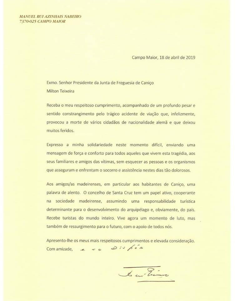 """Acidente com autocarro: Patrão dos cafés """"Delta"""" escreve ao presidente da Junta de freguesia do Caniço"""