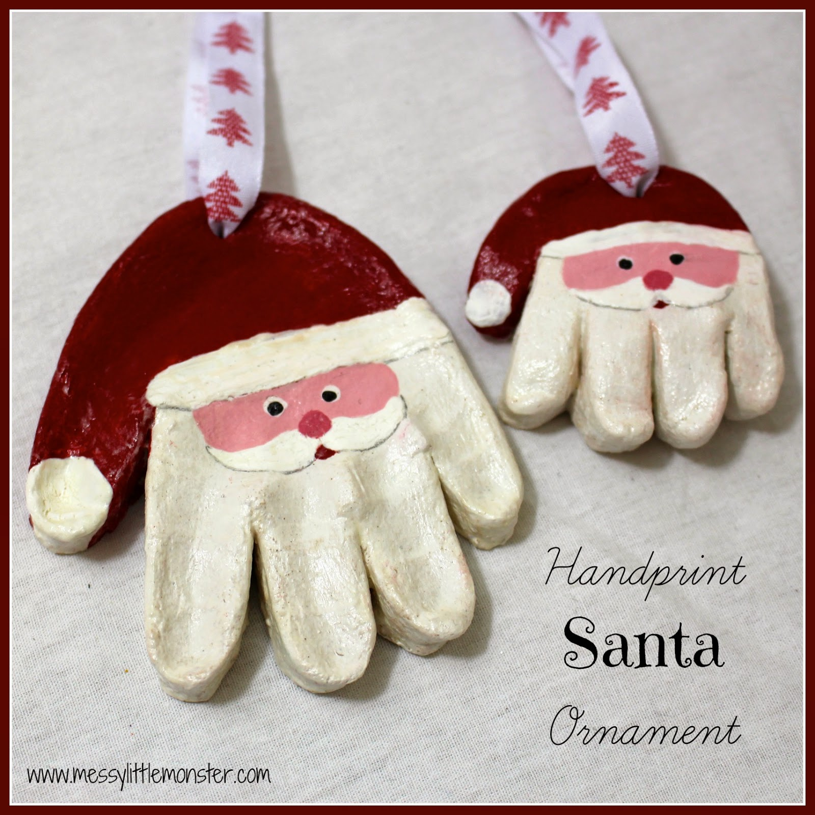 Salt Dough Ornaments Santa Handprints Fun Crafts Kids
