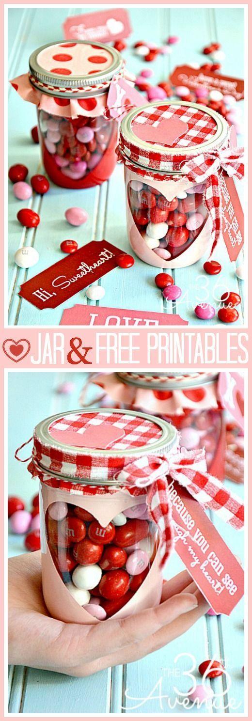FREE Valentine Printable Heart Candy Jar Fun Crafts Kids
