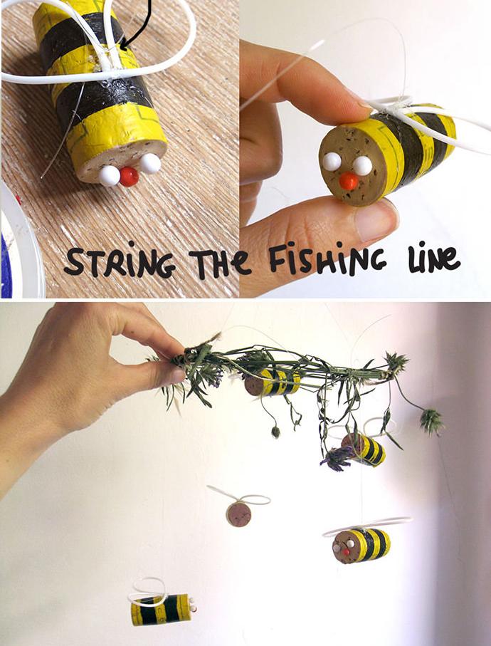DIY Cork Bee Mobile Fun Crafts Kids