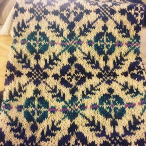 Example of Fair Isle Knitting in a Scarf