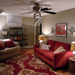Living Room Color With Red Sofa Best For Under 2000 Spotlight A Basement Space Functional Fashionable