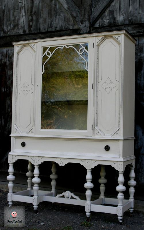 Cream and Black Antique Buffet and China Cabinet  Tuesday