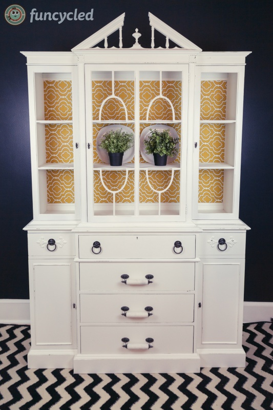 White Breakfront Hutch Makeover Tuesdays Treasures