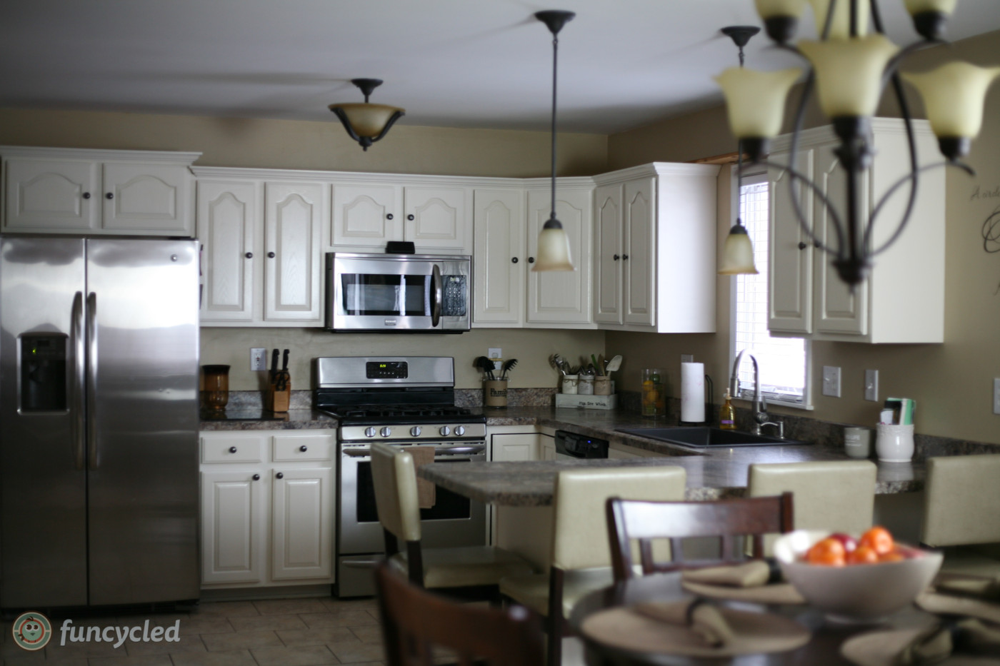 Oak Kitchen Cabinets Painted Navajo White  FunCycled