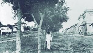 Av. Rio Branco – 1910 Vista da altura do antigo Cine Rex para cima. A presença dos casarios coloniais ainda podem ser vistas do lado esquerdo, assim como o chão de terra e alguns postes de iluminação a gás.