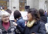 La patrona Paulina Blanco i la Directora General d'Igualtat de la Generalitat, Mireia Mata