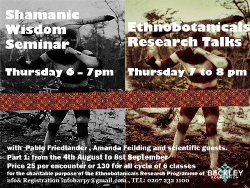 Shamanic Wisdom Seminar with Pablo Friedlander and guests Thursdays 6pm - 7 pm Ethnobotanicals Research Talks with Pablo Friedlander & Beckley Foundation´s guests Every Thursday 7pm - 8pm
