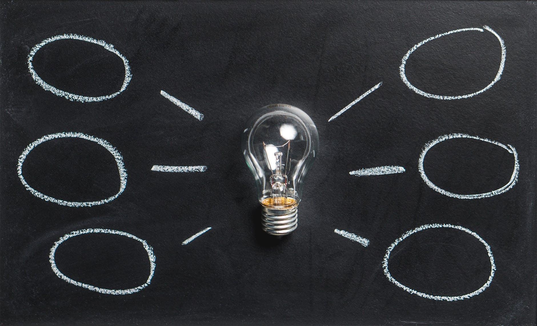 Bombilla que sugiere ideas