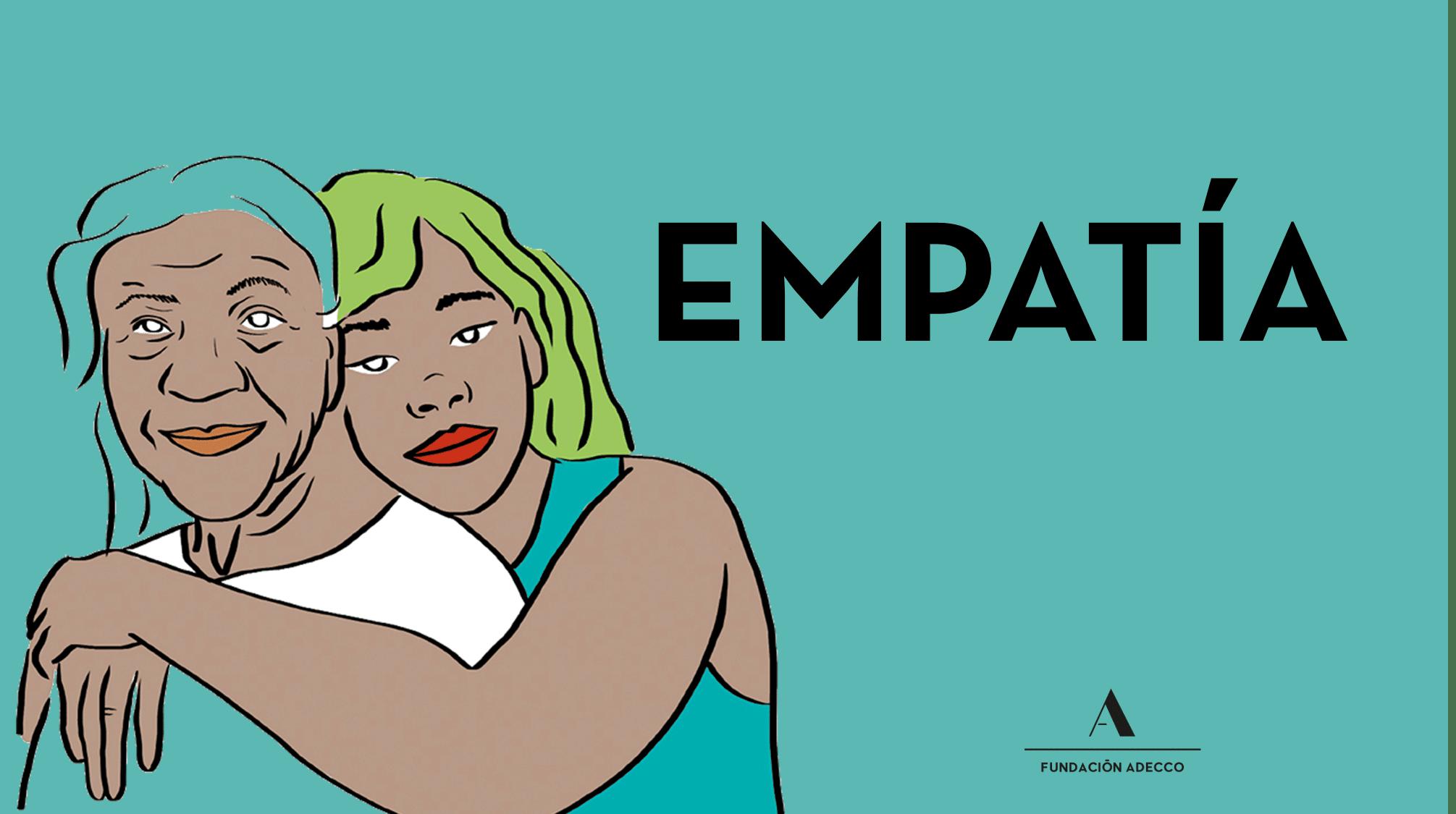 """Dibujo dos mujeres abrazadas junto a la palabra """"empatía"""""""