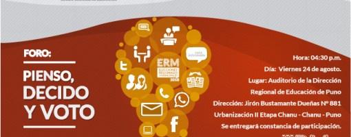 Foro ciudadano sobre educación electoral se realizará en Puno