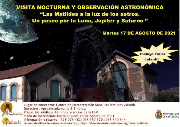 """Visita Nocturna y Observación Astronómica """"Las Matildes a la luz de los astros. Un paseo por la Luna, Júpiter y Saturno """""""