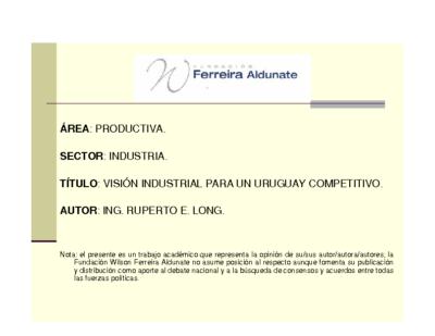 Visión Industrial para un Uruguay Competitivo