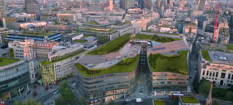 londyn z lotu ptaka - wizualizacja zielone miasto