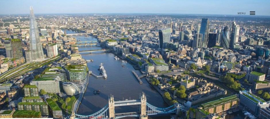 widok na londyn z góry - tamiza, tower bridge