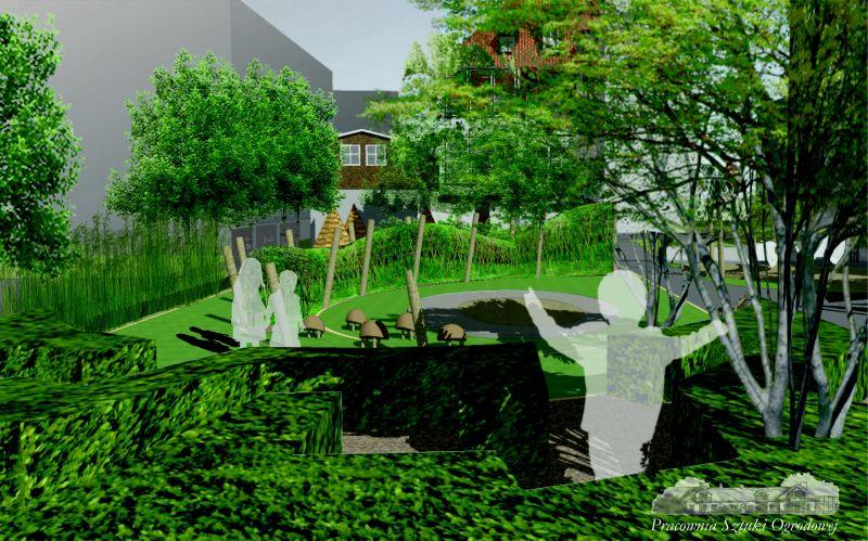 Wizualizacja ogrodu - lewa połowa