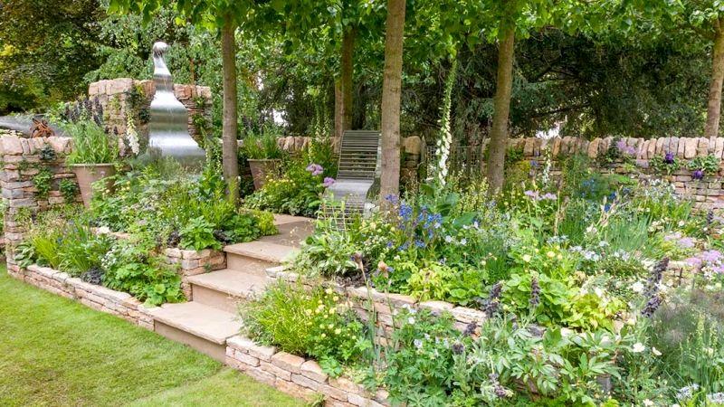 ogród wielopoziomowy - tarasy - ogrody londyn chelsea 2017