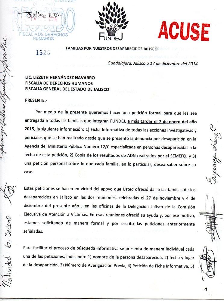 Ni transparencia ni justicia en las investigaciones sobre las desapariciones en Jalisco,  lo único que hay es dilación y nulos avances (2/4)