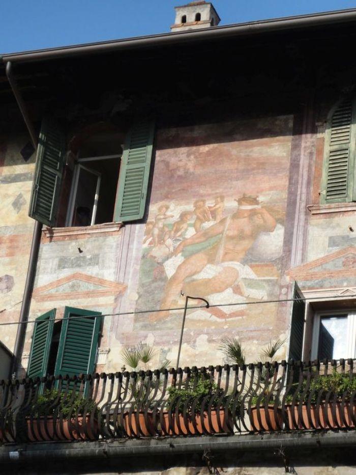 Beautiful frescoes. At Piazza delle Erbe, Verona, Italy