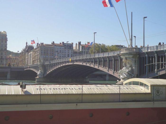 Bridge across the River Rhône. Lyon, France