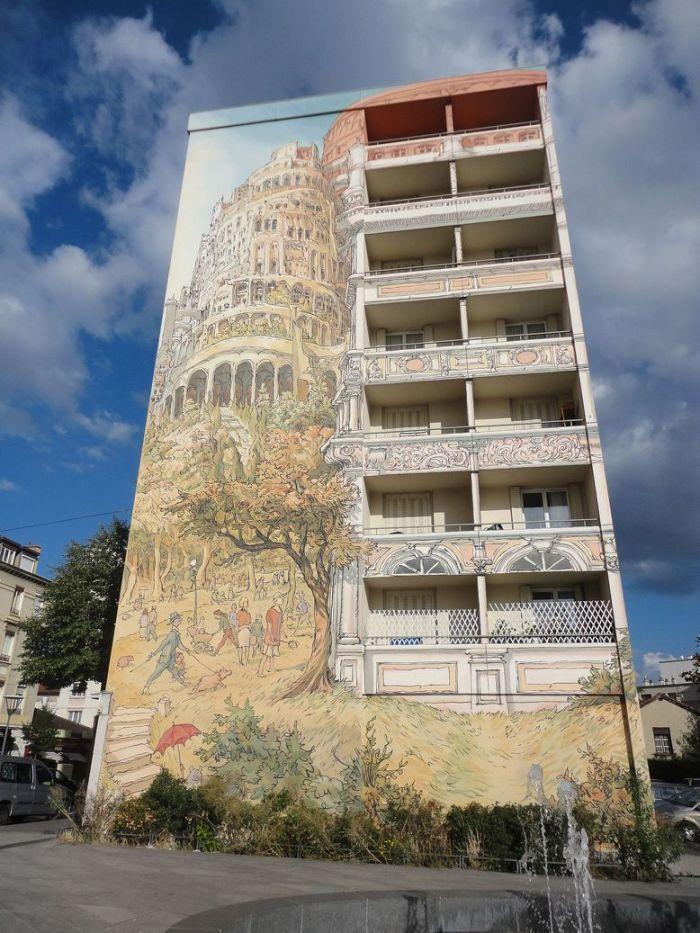 La Fresque Tour de Babel. Lyon, France