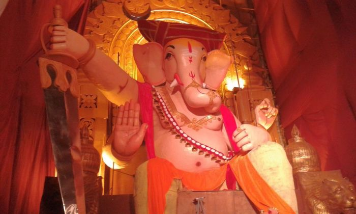 """Jai Malhar"" Ganesah. A majestic 51 ft tall eco-friendly idol. Ganesh Chaturthi, Pune, India"
