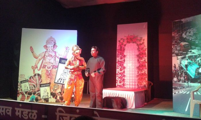 Mooshika and Ganesha. A skit on social issues. Ganesh Chaturthi, Pune, India
