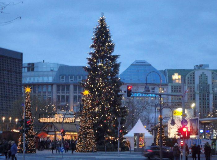 Glittering Christmas Lights. Christmas Market, Berlin, Germany