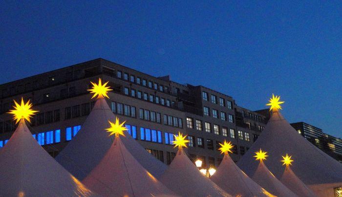Shining Stars at Gendarmenmarkt. Christmas Market, Berlin, Germany