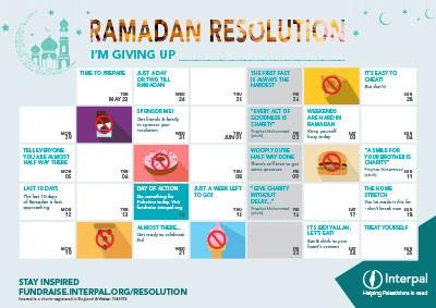 Interpal Ramadan Resolution Challenge Calendar