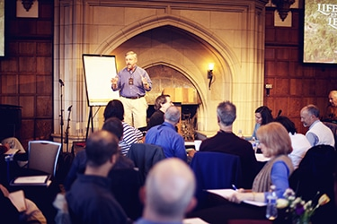 Marc Pitman Fundraising Coach giving a series of lectures at the castle at Glen Eyrie