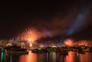 Firework and light show during International fleet review in Syd