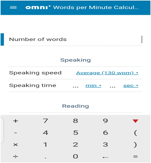 free words to minutes calculators