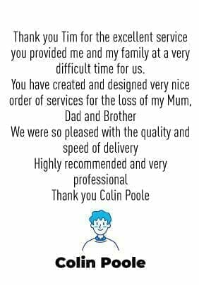 Funeral Order Of Service Testimonial No2