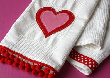 Valentine Appliqué Towels