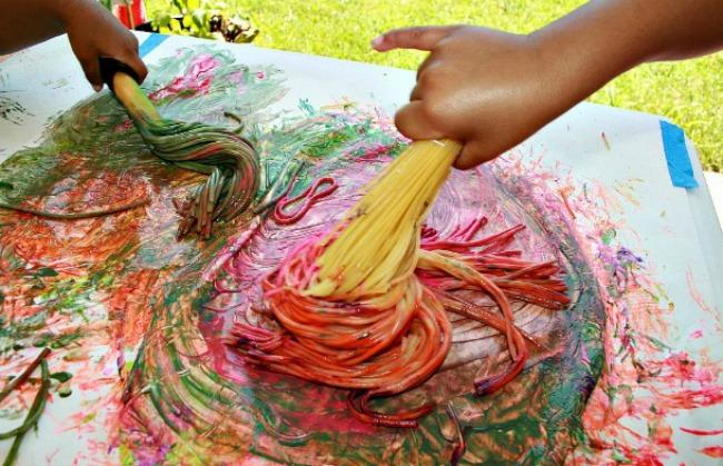 Spaghetti Broom Painting  Fun Family Crafts