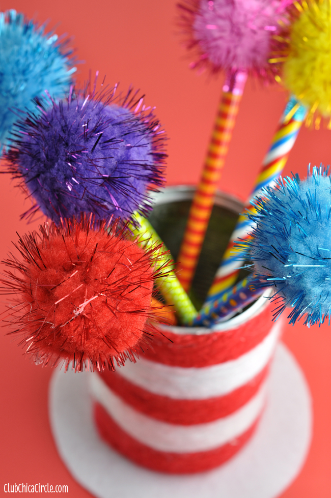 Dr Suess Pencil Cup Hat With Truffula Tree Pencils Fun