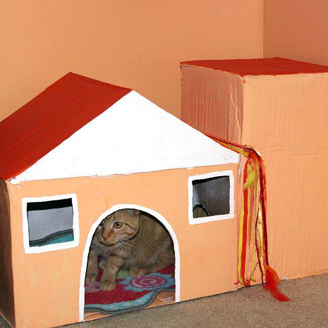 Cardboard Box Cat House Fun Family Crafts